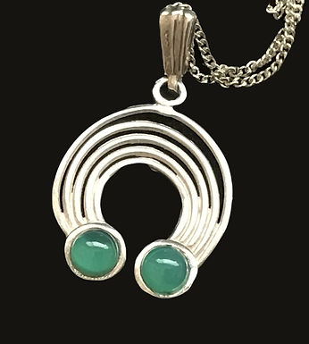 Celtic Semi Circular Pendant with Green Stones