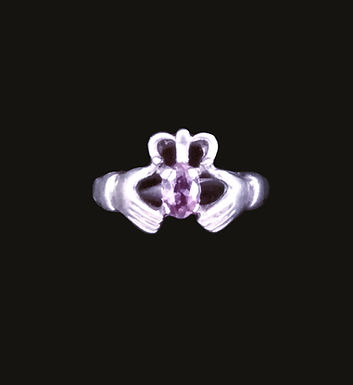 Claddagh Ring with a Pink  Chrystal Heart