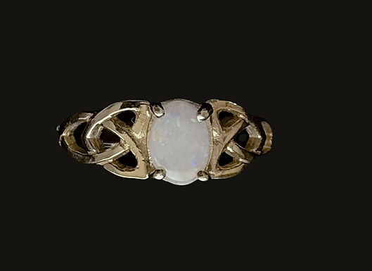 10K Gold and Opal Trinity Knot Ring