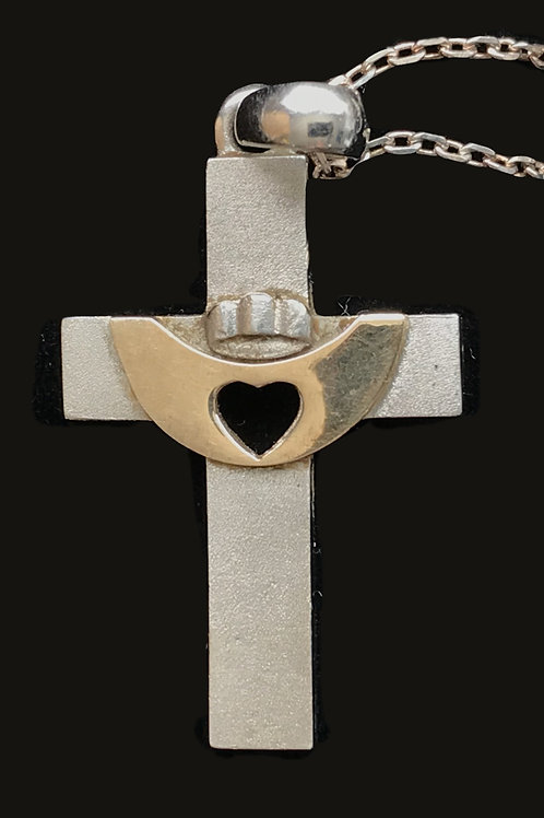 Silver Cross with 14K Gold Claddagh