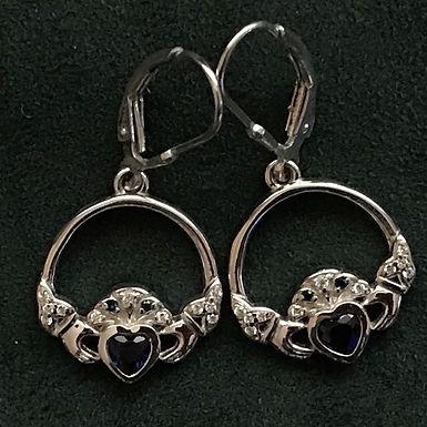 Sterling Silver Claddagh Loop-Drop Earrings with Blue Cubic Zirconia
