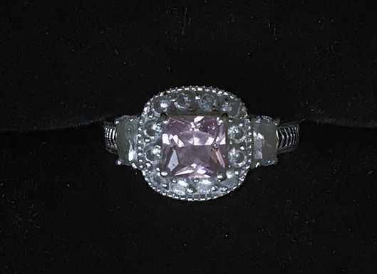 Silver Ring with White and Pink Cubic Zirconia