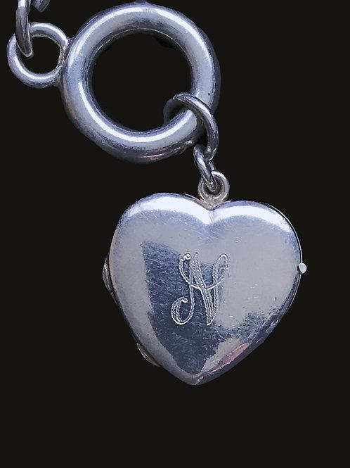 """Locket Bracelet with Letter """"N"""" Engraved"""