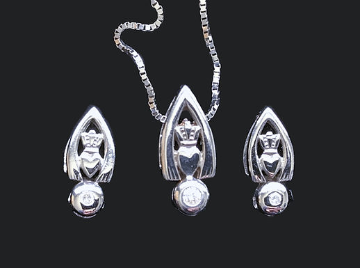 14K White Gold and Dimond Claddagh Earrings and Necklace