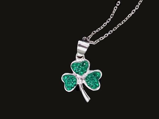 Shamrock Pendant Embellished With Green Crystal