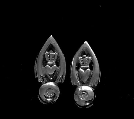 14K White Gold and Dimond Claddagh Earrings screw