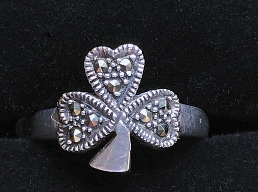 Marcasite Shamrock Ring - Sterling Silver