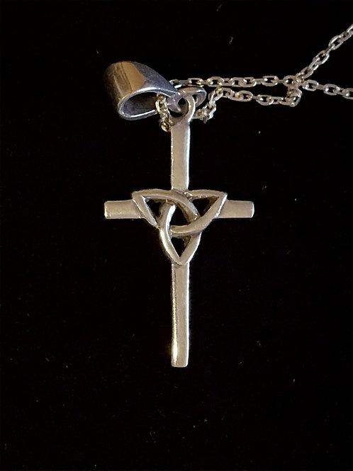 Sterling Silver Trinity Knot Cross Pendant