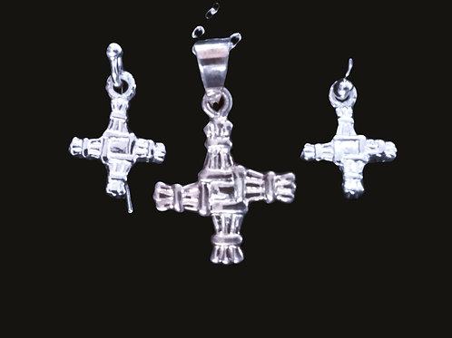 Sterling Silver St. Bridget's Cross Earrings and Pendant