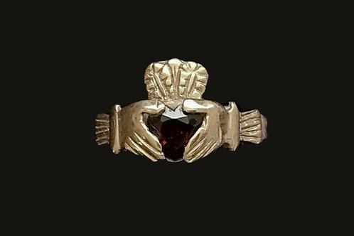10K Gold January Birthstone Claddagh Ring