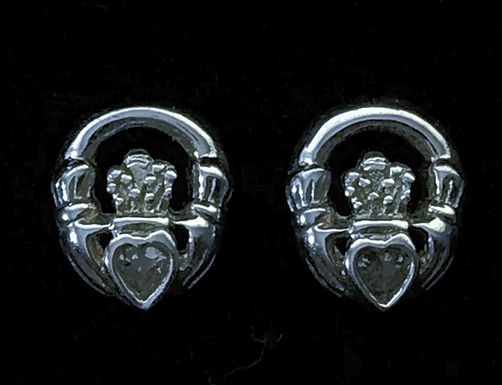 Sterling Silver Claddagh Stud Earrings with Cubic Zirconia