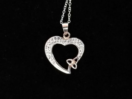 Large Chrystal Heart with a Trinity Knot