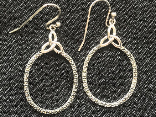 Trinity Knot Sterling Silver and Marcasite Loop Earrings by Celtic Design