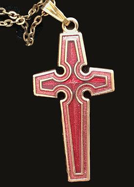 Red Enamel Cross Pendant
