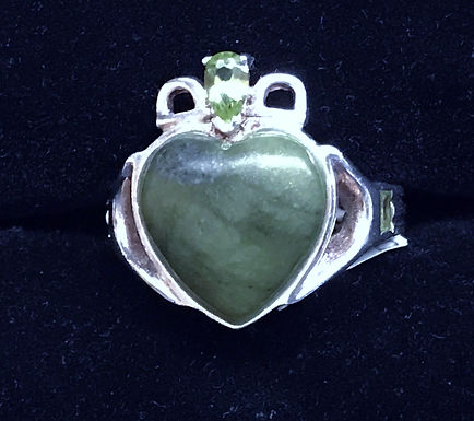 Connemara Marble Claddagh Ring with Green Cubic Zirconia