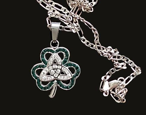 Shamrock Trinity Necklace Green And White Stones