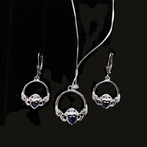 Claddagh Pendant and Earrings with Blue Hearts