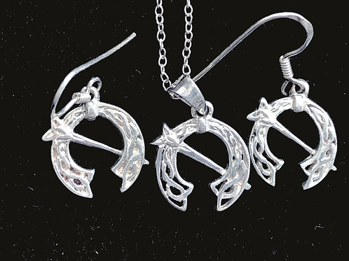 Silver Tara Brooch Earrings and Necklace Sterling Silver