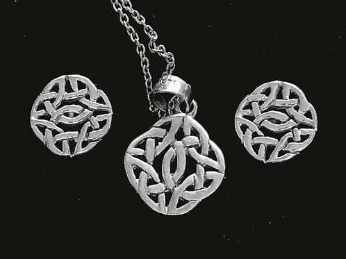 Celtic Knot Pendant and Earrings sterling silver