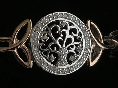 Silver Tree of Life Bangle with Cubic Zirconia and Rose Gold Plating