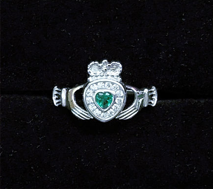 Sterling Silver Claddagh Ring with Clear and Green Cubic Zirconia