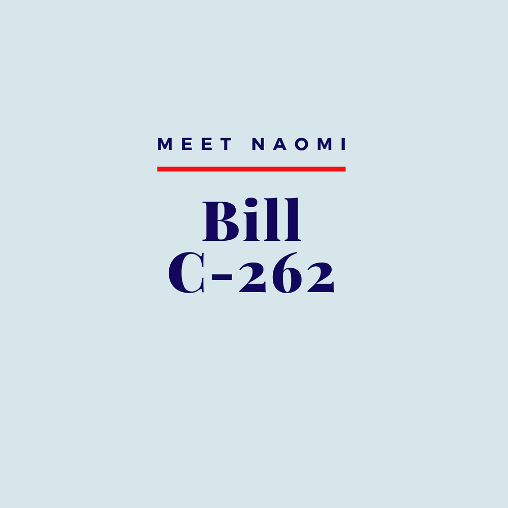 Image reads: Meet Naomi, Bill C-262