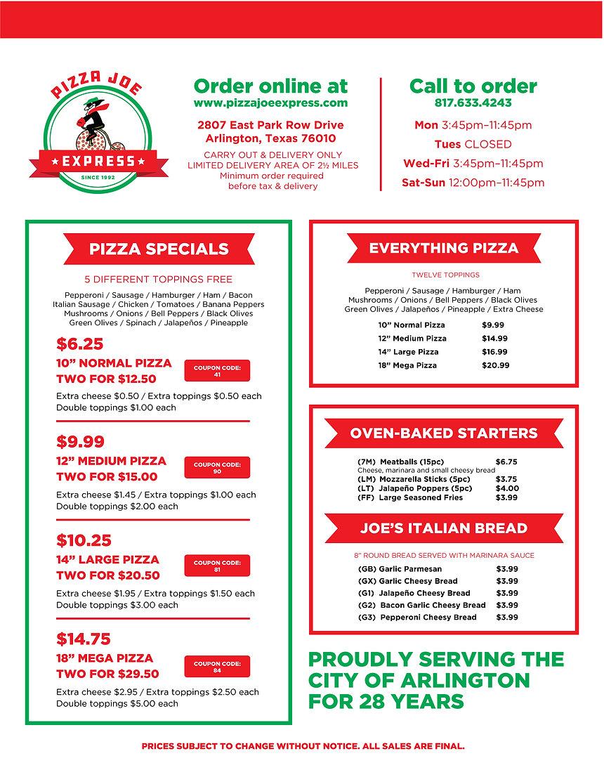 Pizza Joe Express Menu