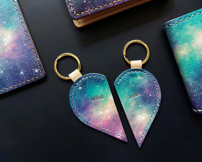 【好好縫】星空染|半心形匙扣|皮革D.I.Y材料包