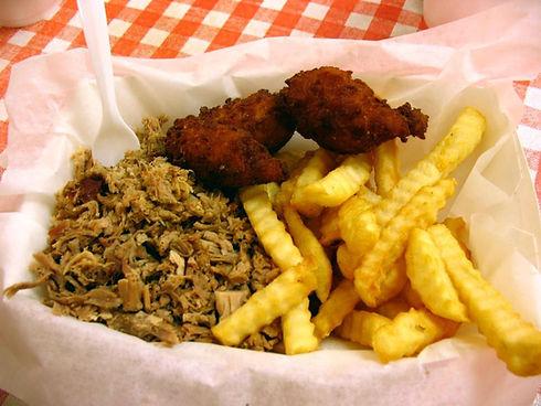 521 BBQ pulled pork, hush puppies, fries