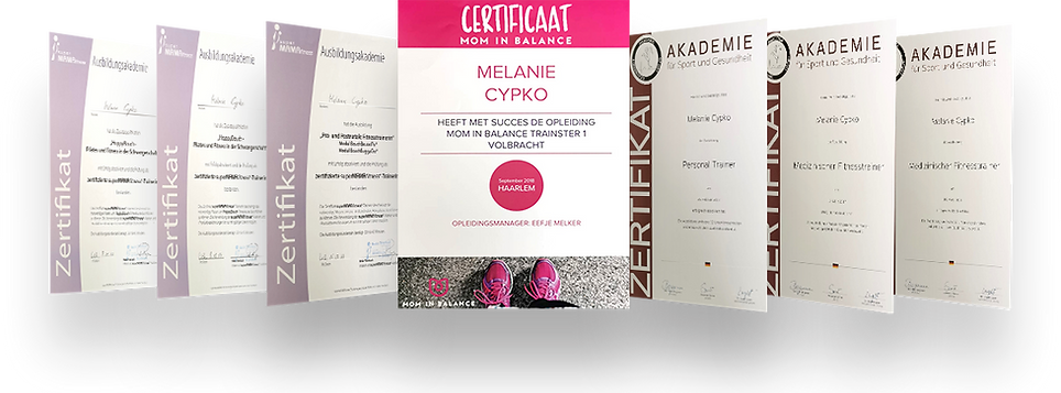 Melanie Cypko's Fitness Trainer Certificates