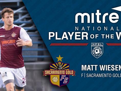 Wiesenfarth Named Mitre National Player of the Week