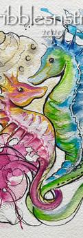 "seahorses  watercolor/ink on cold press paper  prints: original 7x5"":"