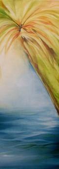"palm tree  oil on linen panel 16x6"""