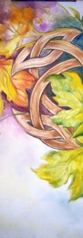 """seasons  seasons intertwined with a celtic leaf oil on canvas 30x24"""""""