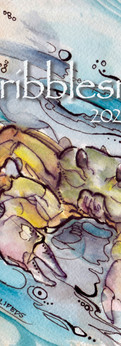 "crab II  watercolor/ink on cold press paper  prints: original 7.5x10"":"