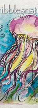 "jellyfish II  watercolor/ink on cold press paper  prints: original 7x5"":"
