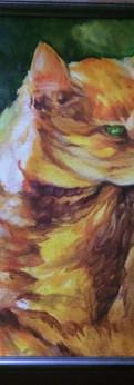 """orange kitty  oil on linen panel 18x14"""""""