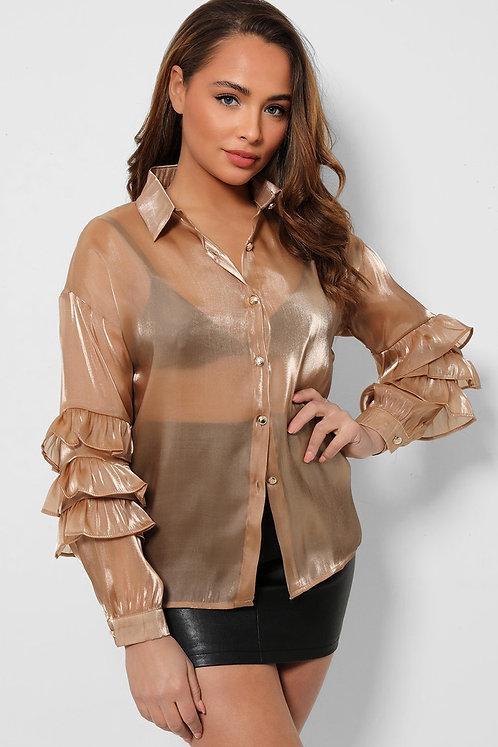 Taupe Layered Sleeves Organza Shirt