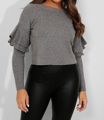 Double Frill Sleeve Pullover in Grey