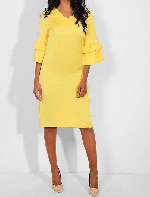 Yellow Layered Pearls Shift Dress