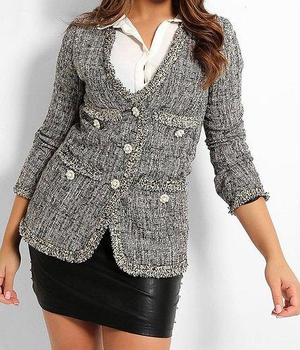Grey Pink Pearl Tweed Blazer