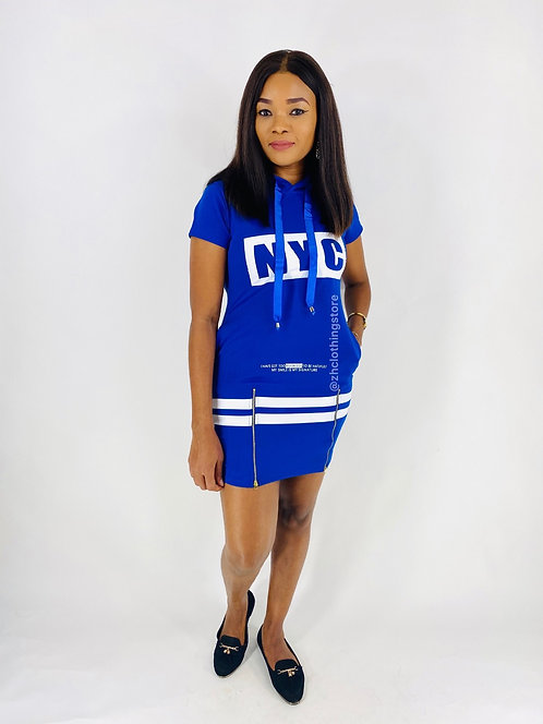 Blue Slogan Dress