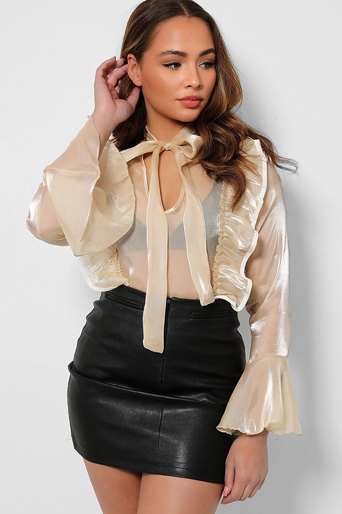 Beige Organza Frilled Pussybow Blouse
