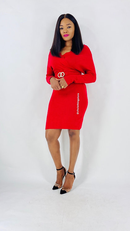 Scallop Neck Dress in red