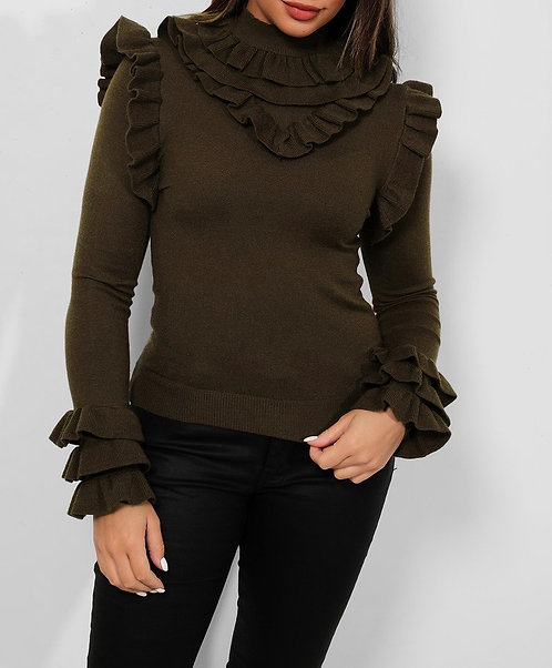 Army Green Frilled Top