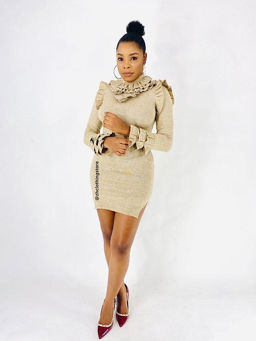 Beige Frill Shimmer Dress