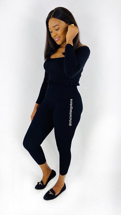 Black Stretchy Rib Knit Loungewear