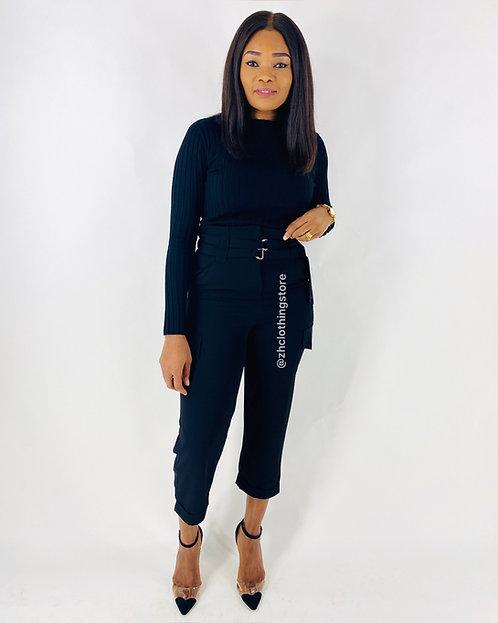 Black Paperbag Wide Leg Trousers