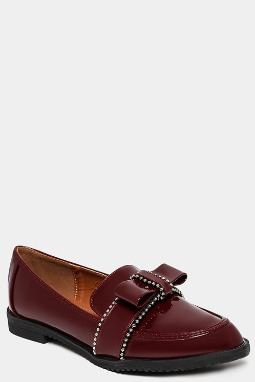 Burgundy Bow Loafers