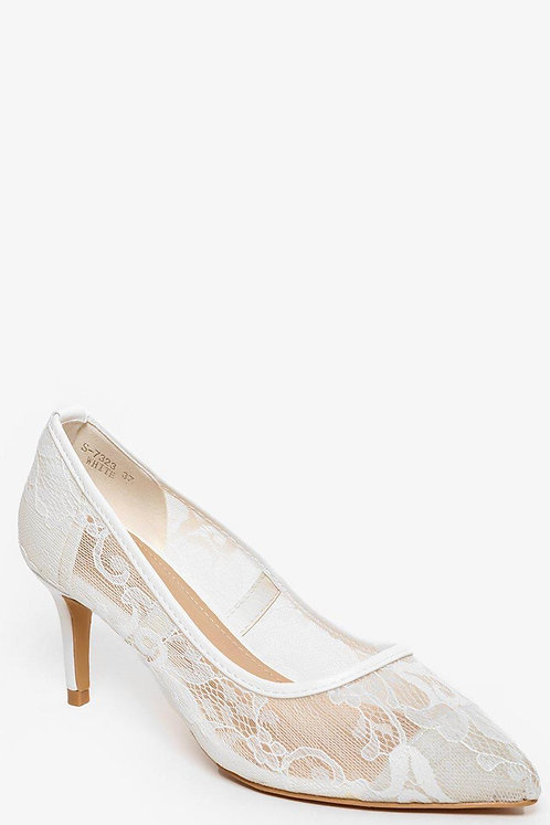 White Lace Mid Heel Pumps
